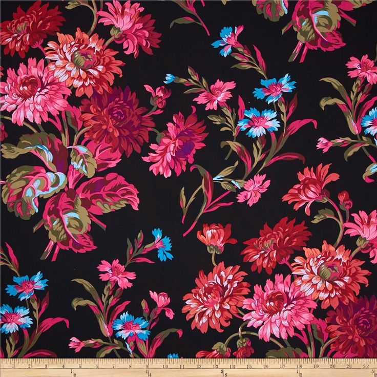 Kaffe Fassett Anne Marie Black from @fabricdotcom  Designed by Philip Jacobs for Free Spirit, this cotton print fabric is perfect for quilting, apparel and home decor accents. Colors include brown, black, shades of purple, shades of red, shades of orange, shades of pink, shades of green, and shades of blue.
