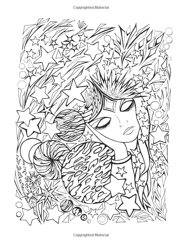 9 best images about fanciful faces coloring for adults art Coloring books for young adults