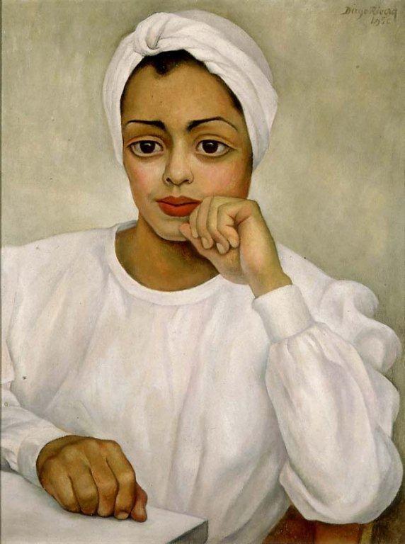 Diego Rivera, Doctora mexicana (Retrato de Irma Mendoza), 1950, oil on canvas -- portrait of a real life surgeon (note the enlarged hands) by Diego Rivera