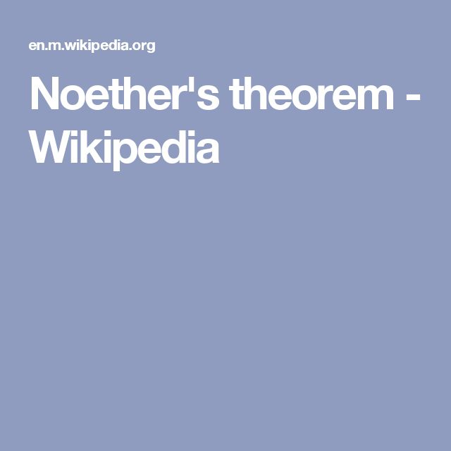 Noether's theorem - Wikipedia