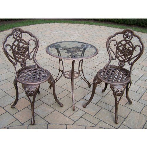 Oakland Living Texas Rose Cast Aluminum Patio Bistro Set Color   Texas Rose  By Oakland Living