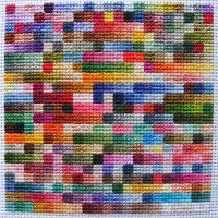 Hardcore StitchCorps: DMC color cross-stitching tiny 9-square blocks of every shade of DMC cotton embroidery floss, in numerical order, on Aida cloth
