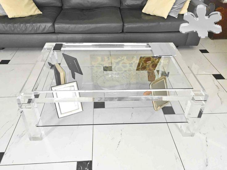 Acrylic interiors - Lucite Acrylic coffe table - TAVOLINI DA SALOTTO IN PLEXIGLASS | Tavolo trasparente in plexiglass 03. mod. MISSING a due piani   | Tavolino plexiglas cm.100 x 70 h.40 - telaio sp.mm.60 - gambe sez.mm.60 - cristallo inferiore #lucite #design #home