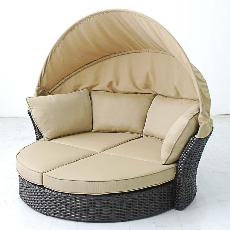 Outdoor Lounger Day Bed Love Seat - Mahogany Wicker - Outdoor Furniture Set   Cocoon yourself in sunshine with this Outdoor Lounger Day Bed Love Seat. Handmade from 100% recyclable resin wicker with a sturdy aluminum frame, this Outdoor Day Bed ensures high quality and long lasting performance. Roomy enough for sunning a deux, this sophisticated outdoor furniture set includes a loveseat with a half-circle ottoman.