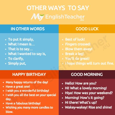 "Other ways to say ""good luck"" - Online English Teacher - MyEnglishTeacher.eu"