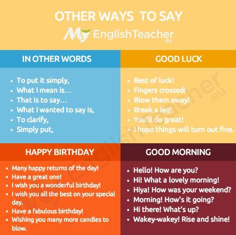 "Other ways to say ""good luck"" - Online English Teacher - MyEnglishTeacher.eu"