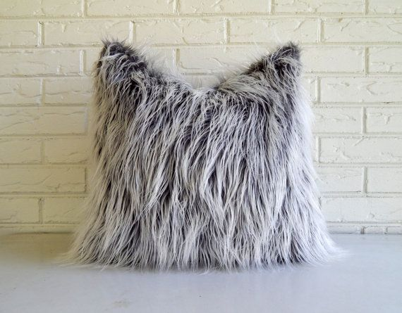 Gray Faux Fur Pillow Cover - Frosty Grey Mongolian Fur Throw Vegan - Rustic Fur Pillow  This gray shag pillow cover is ultra soft and 100% vegan