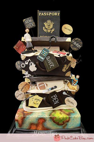 Travel inspired cake~    My wedding cake peg! Haha But I want something more feminine and chic. ;)