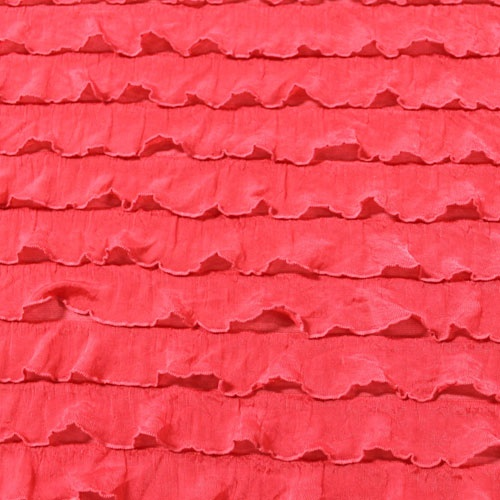 Coral Pink Stretch Ruffle Knit Fabric