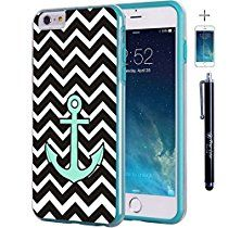 "iPhone 6 6s Plus 5.5"" Case, True Color® Teal Anchor on Chevron Slim Hybrid Hard Back + Soft TPU Bumper Protective Durable [True Protect Series] +FREE Stylus & Screen Protector - Teal"