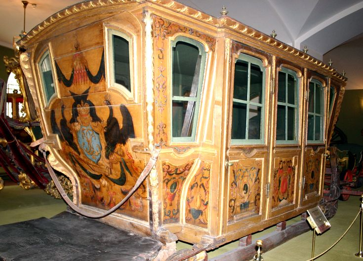 Winter Sledge of Elizaveta Petrovna, daughter of Peter the Great, 1742.  She traveled almost 1000 km from Saint Petersburg to Moscow in just three days (when such a trip normally lasted at least seven). She was packed in a large winter sledge, together with two maids. The sledge only stopped to change exahusted horses for fresh ones. The operation had to be done exactly in three minutes. Elizaveta and her maids ate, slept and peed (using a golden chamber pot) inside the sledge.