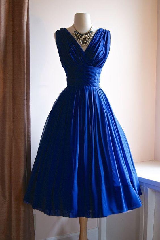 2016 Vintage Tea Length 1950s Royal Blue Ruched Chiffon Wedding Dresses Short Colorful Reception 1960s Bridal Gowns