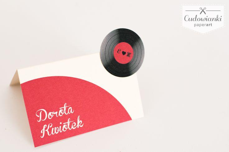 Vinyl place card.   Winietka w motywie muzycznym, z winylem.