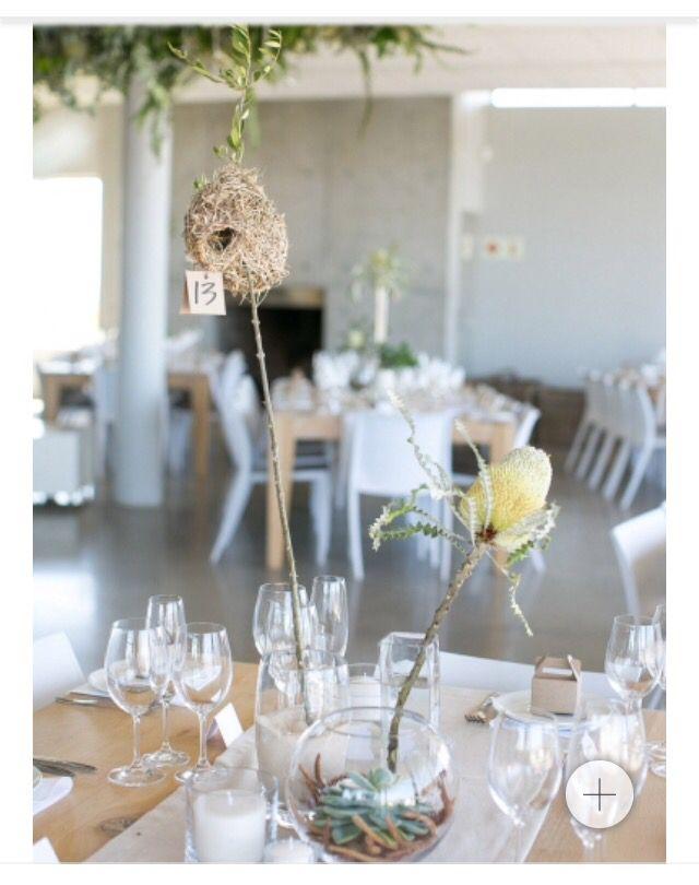 Bush inspired table decor - weavers nest