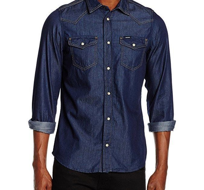 DIESEL SHIRT NEW-SONORA-E MENS BLUE LONG SLEEVE TOP SIZE LARGE