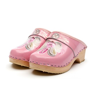 swedish hand-painted  wooden clogs pink