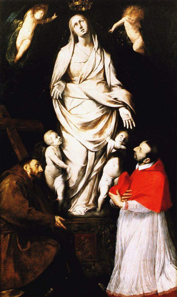 Giovanni Battista Crespi, detto il Cerano - San Francesco e il beato Carlo Borromeo in preghiera davanti all'Assunta di San Celso a Milano