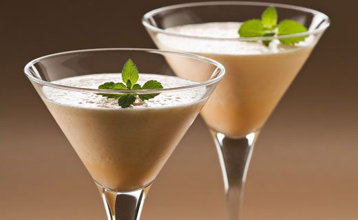 Epicure's Peanut Butter Shake. A nutty twist on a fruit smoothie. Each serving contains 12 g of protein. Serve in martini glasses while entertaining!