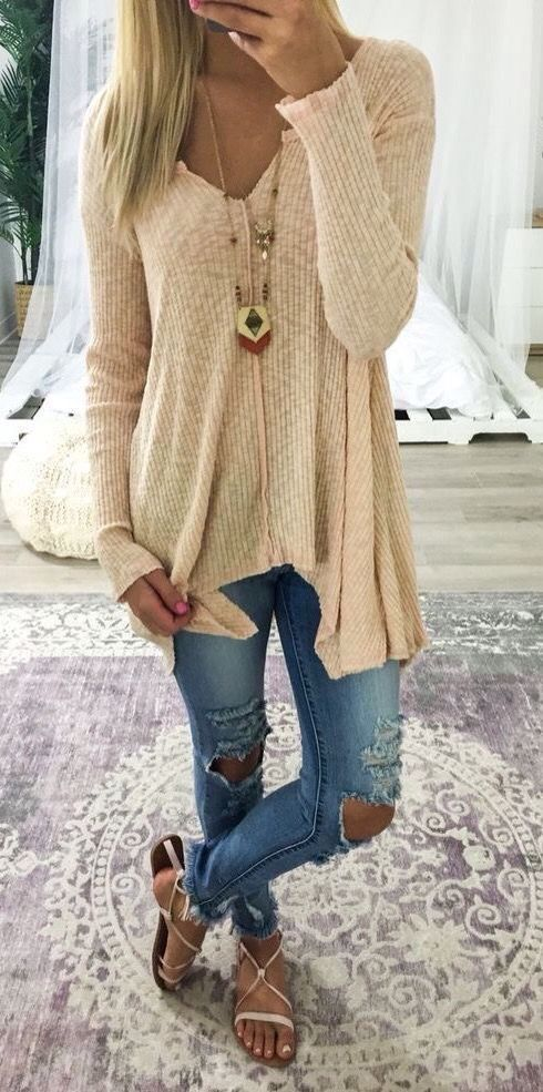 Waffle knits and distressed denim