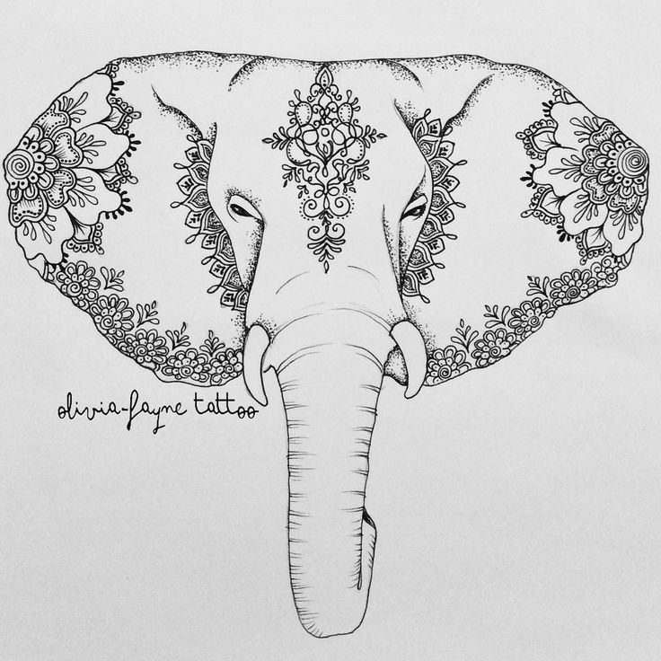 Another for Pollie (all designs are subject to copyright - to order your own custom design visit www.oliviafaynetattoodesign.com or email. All information on bio) #elephant #elephanttattoo #mandala #mehndi