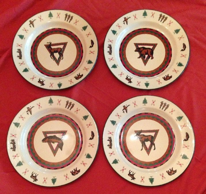 4 Lodge Midwest Cannon Falls Enamel Plates w Deer Bear Fish Moose Trees | eBay