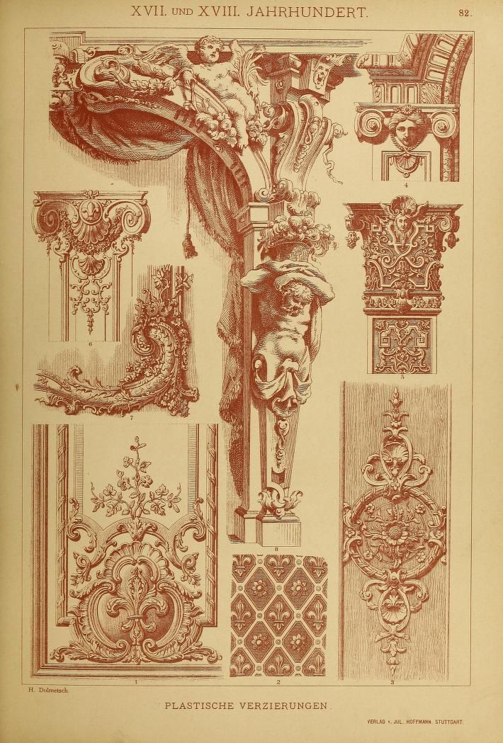 Illustrations of architectural elements from the german for Baroque architecture elements