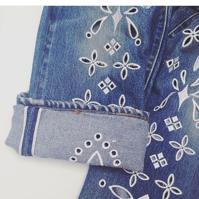 Our Eyelet Denim up close - The perfect summer denim with built in AC❄️✌️ #regram @ikonatsukawa from #highandseek