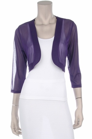 Purple Sheer Bolero Chiffon 3/4 Length Purple Chiffon Bolero Jacket $29.99