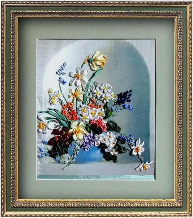 Flowers ribbon embroidery