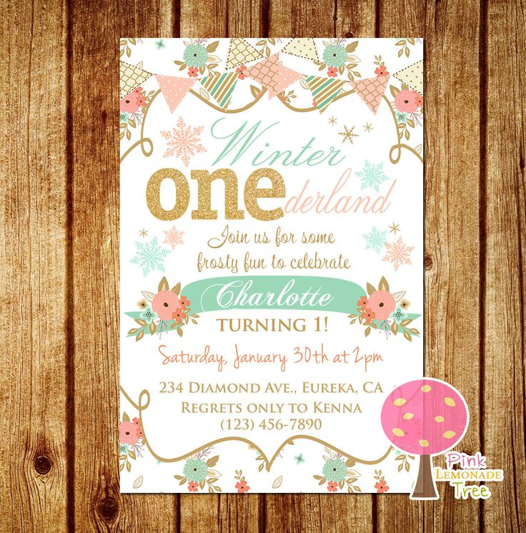 Shabby Chic First Birthday Party Invitation, Winter Onederland Invite, Gold Glitter Birthday Invitation, Peach and Mint, One, Flowers by PinkLemonadeTree on Etsy https://www.etsy.com/listing/261518083/shabby-chic-first-birthday-party
