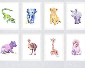 Neutrale Kinderzimmer Dekor Set Von 3 Drucke Baby Tiere