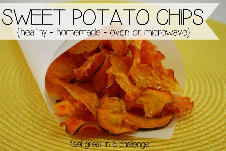 In less than 10 minutes {in the microwave or oven} you can have healthy homemade sweet potato chips! Perfect for those crunchy, salty cravings!