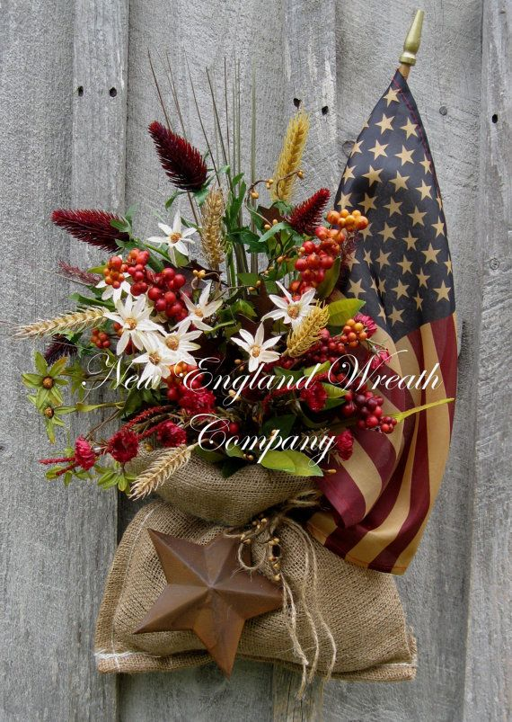 Americana Wreath, Patriotic, Fourth of July Decor, Memorial Day, Veteran's Day, Summer Floral, Country Cottage, Tea Stained Flag