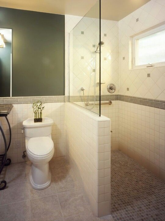 small bathroom. This would totally work for Ollie's shower chair