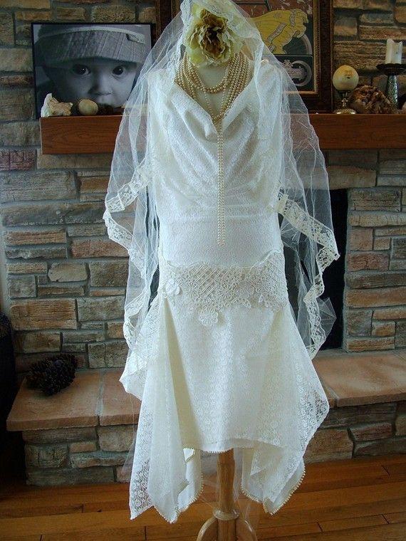 1920s style wedding dress flapper bridal by RetroVintageWeddings, $600.00