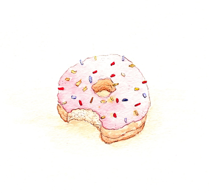 Pink Donut #donut #watercolor | Donuts | Pinterest ...