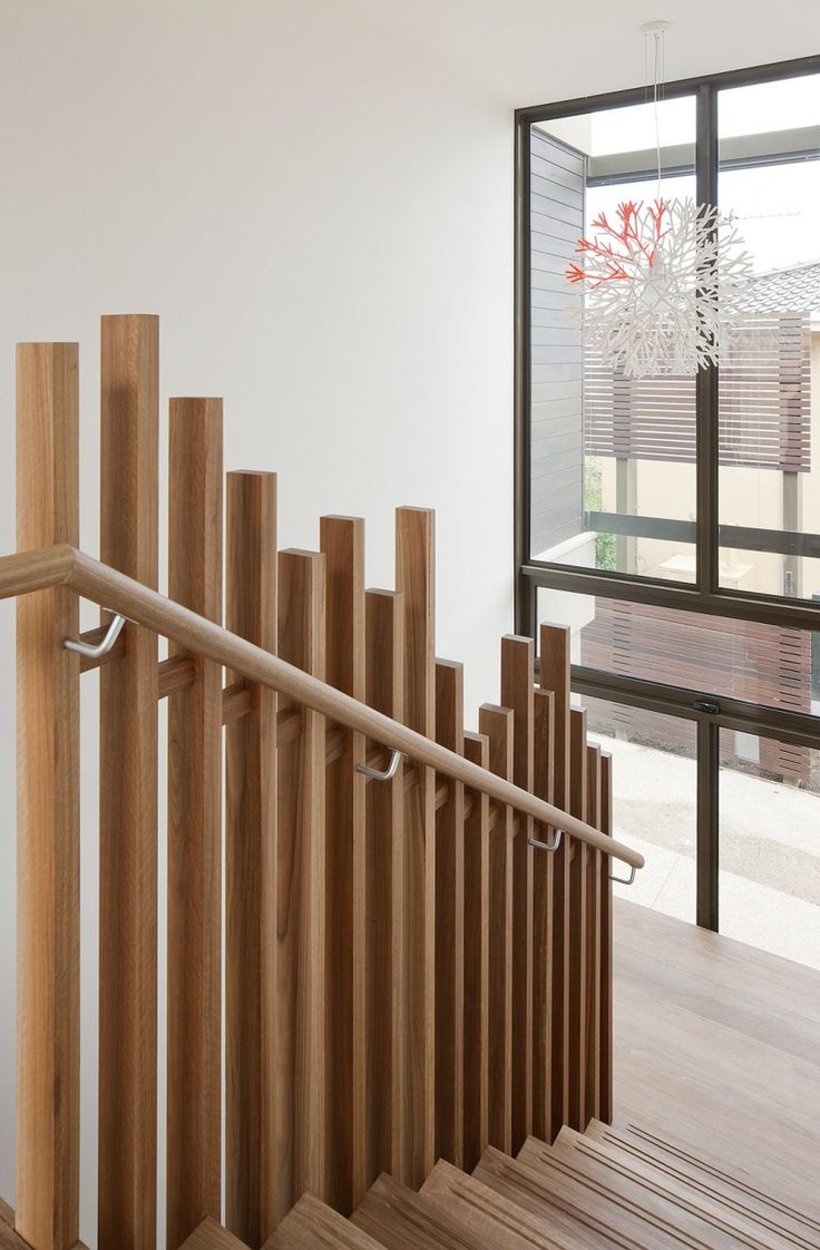 Timber screen detail to staircase balustrade. Hill House by Rachcoff Vella Architecture