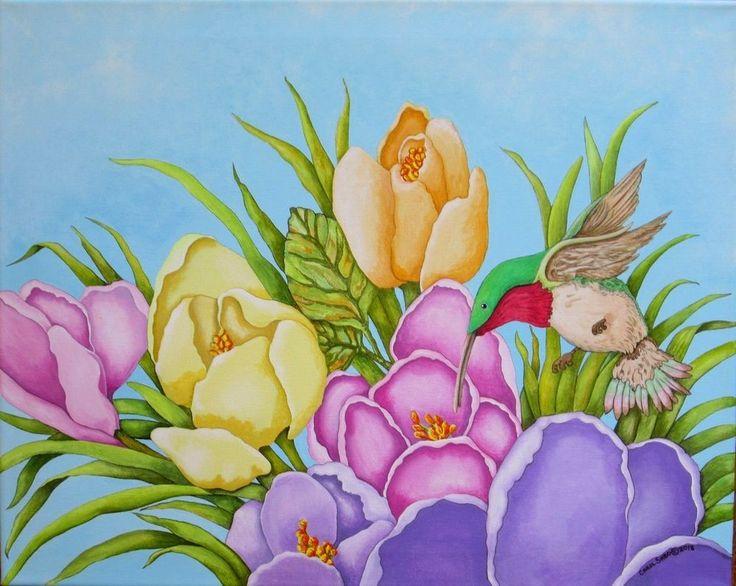Crocus/Hummingbird, Orig. Painting by the artist, Realism, #hummingbird #Realism