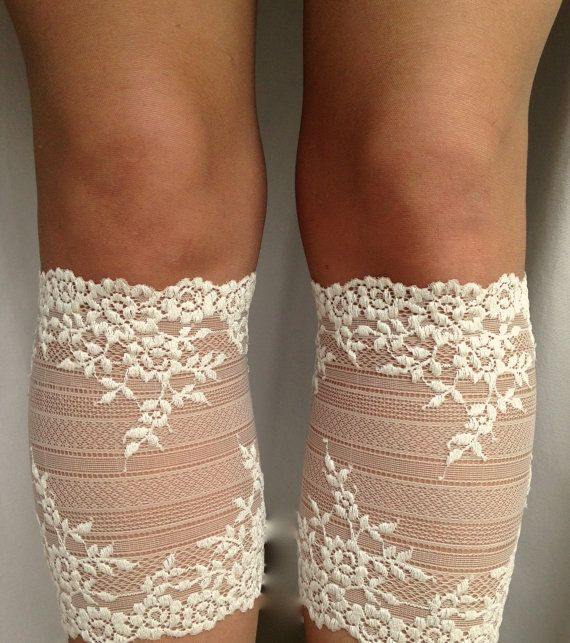 Lace Boot Cuff Socks Beige-Nude lace  boot by VANAGScreative