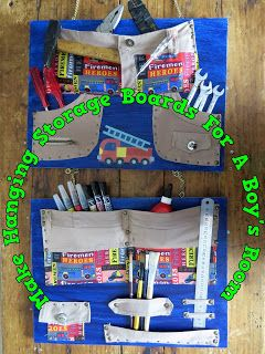 A Pretty Talent Blog: Making Hanging Storage Boards For A Boy's Room