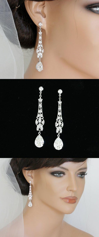 Art Deco Bridal Earrings Long Wedding Earrings Crystal Dangle Earrings  Vintage Wedding Jewelry  MARCELLA CRYSTAL