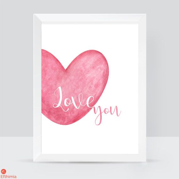 Love you print watercolor love art love you by EfthimiaPapierMache
