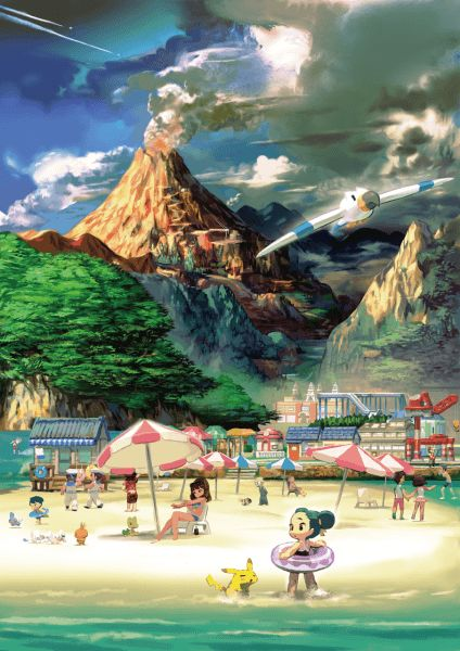 #Slateport City Mt Chimney artwork from the official artwork set for #Pokemon Omega Ruby & Alpha Sapphire on the #Nintendo3DS #ORAS. http://www.pokemondungeon.com/pokemon-omega-ruby-and-alpha-sapphire-versions