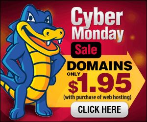 50% OFF Web Hosting Cyber Monday Deal.  $1.95 Domains Names. Blow Out Sale!