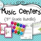Music Centers 3rd Grade Bundle--everything you need for learning centers to practice ti-tika, tika-ti, low la, low sol, and lines and spaces on the treble clef staff, with very little prep!