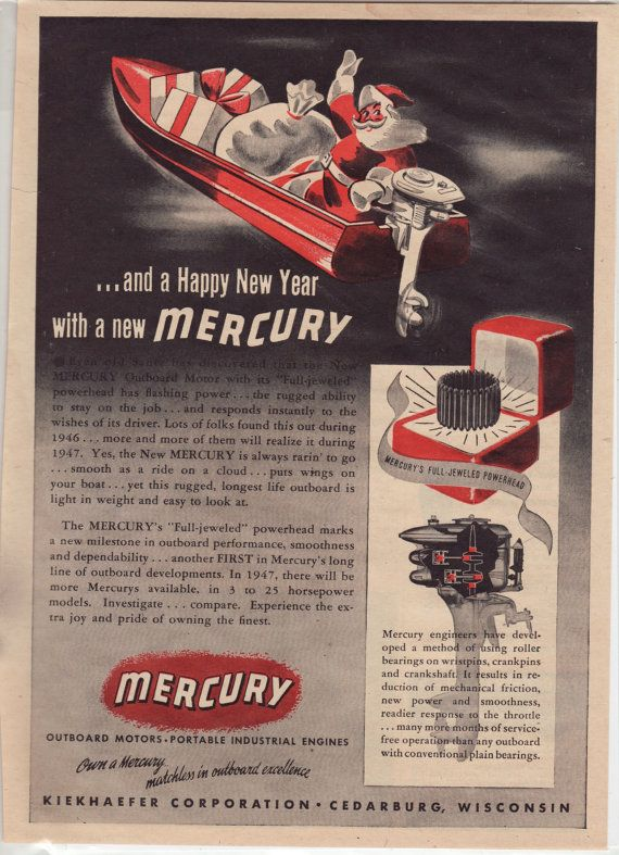 "Vintage Ad: ""And A Happy New Year With a Mercury"" from Mercury Outboard Motors, 1948"