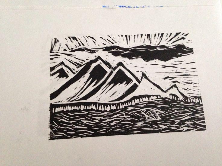 Woodcut print mountains