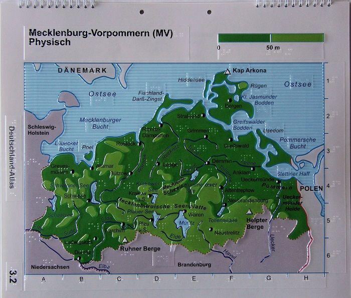 Mecklenburg-Vorpommern-Karte, physisch