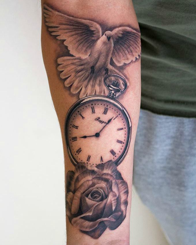 Clock Roses Tattoo Designs