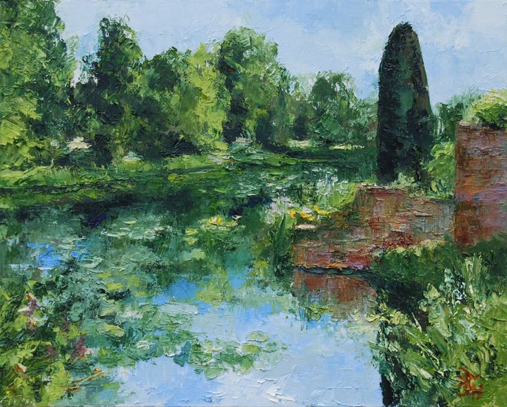 The Moat At Scotney Castle, Oil painting by Brian Hanson | Artfinder